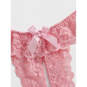 Floerns Women's Plus Size 2 Pack Lace Seamless V-Strings Thong Panties Set