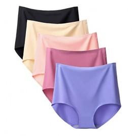 Bolivelan 5 Pack Women's Seamless Hipster Panties Invisible High Waist No Show Ladies Bikini Underwear