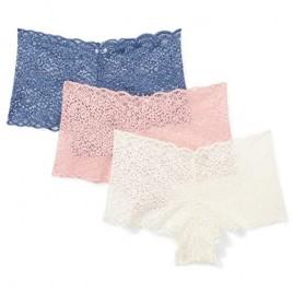 Brand - Mae Women's Galloon Lace Cheeky Underwear 3 Pack