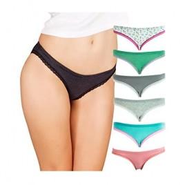 Emprella Womens Bikini Underwear (6-Pack) Seamless Breathable Cotton Panties