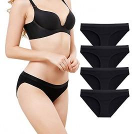 SPFAS Women's 4 Pack Cotton Bikini Panties Hipster Panties Soft Comfort Underwear