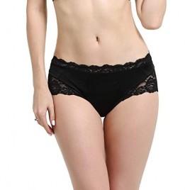 VERANO Women's Crotchless Underwear Lace band Briefs Panties Silky Bikini