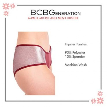 BCBGeneration Women's 6-Pack Micro and Mesh Sexy Hipster Panties Underwear