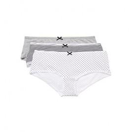 Brand - Iris & Lilly Women's Hipsters Boy Short Cut Pattern Pack of 3