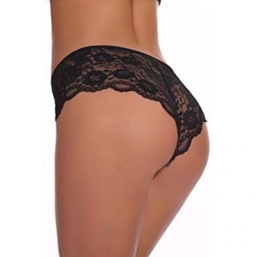 Confonze Women's Sexy Floral Lace Panties Cotton Hipster Briefs Women Lingerie