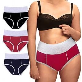 Women's Plus Size Underwear High Waist Cotton Panties Tummy Control Underpant Ladies Breathable Briefs Multipack