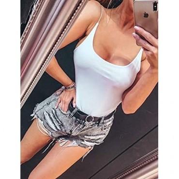Amilia Women's Basic Casual Camisole Tank Leotard Bodysuit Tops Base Layer Cami Shirts Bodycon Jumpsuit Onesie Romper