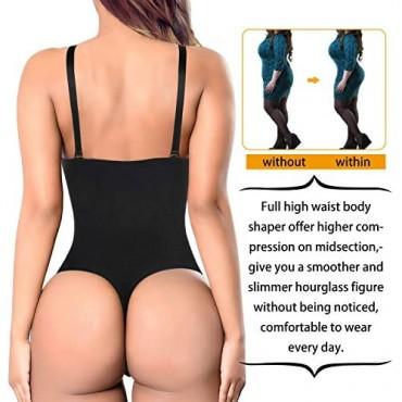 Nebility Women Waist Trainer Shapewear Thong Bodysuit Seamless Tummy Control Panty Faja Open Bust Body Shaper