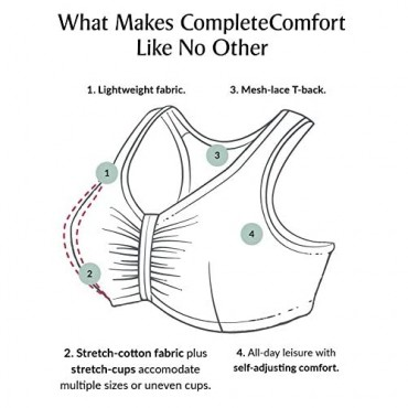 Full Figure Plus Size Complete Comfort Wirefree Cotton T-Back Bra 1908