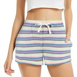 HEARTNICE Cotton Pajama Shorts for Women Soft Rainbow Stripe Sleep Bottom Lounge Pj Shorts S-2XL