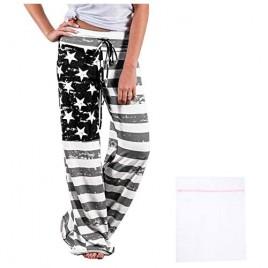 iniber Women's Comfy Casual Pajama Pants Floral Print Drawstring Palazzo Lounge Pants Wide Leg with Laundry Bag