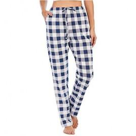 Women Casual Lounge Pants 100% Cotton Drawstring Plaid Pajama Bottoms with Pockets Pjs Pants