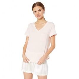 Brand - Mae Women's Loungewear Classic V-Neck Tee