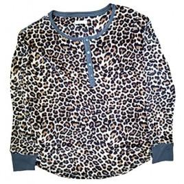 Cheetah Animal Print Long Sleeve Fleece Sleep Top