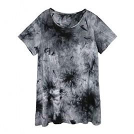 Mattcoco Women's Tie Dye Pajama Top Short Sleeve Sleep Shirt