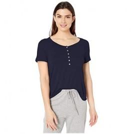 Splendid Women's Short Sleeve Henley T-Shirt Casual Lounge Pajama Top Pj