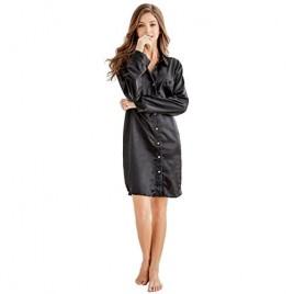 TONY AND CANDICE Women's Sleep Shirt Satin Pajama Top Long Sleeve Nightshirt