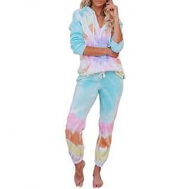 Actloe 2020 Womens Tie Dye Printed Pajamas Set Long Sleeve Sleepwear Nightwear Pj Lounge Sets