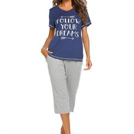 Ekouaer Women's Short Sleeve Tops and Capri Pants Cute Cartoon Print Pajama Sets with Pockets