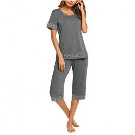 Hotouch Women's Pajama Set Stylish Print O-Neck Short Sleeves Top with Capri Pants Sleepwear Pjs Sets