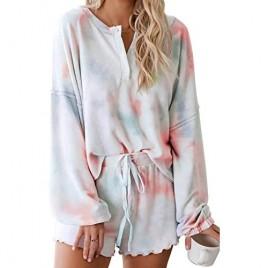 Lopie Womens Pajamas Set Long Sleeve Tops and Shorts Sleepwear Tie Dye Printed 2 Piece Nightwear