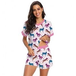 RAISEVERN Women's Pajamas Set Short Sleeve Shirt and Pant Pjs Set Cute Print Tee Sleepwear Nightwear Set with Pockets