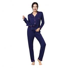 YIMANIE Women's Pajamas Set Button Down Sleepwear Soft Pj Lounge Sets Long Sleeve Shirt+Long Pants XS-XXL