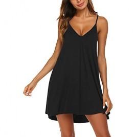 Ekouaer Nightgown for Women Loose Sleepwear V Neck Pajama Dress Soft Nightshirt Sleeveless Nightdress Short Sleepshirts