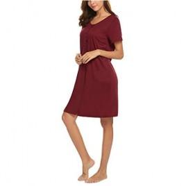 Ekouaer Nightgown Womens Scoop Neck Sleep Shirts Short Sleeve Sleepwear Button Down Nightshirt S-XXL