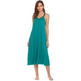 Ekouaer Nightgown Womens Sleeveless Long Nightshirt Full Slip Chemise Nightdress Summer Loose Racerback Lounge Dress