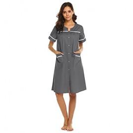 Ekouaer Plus Size Housecoats Womens Cotton Nightwear Short Sleeve Long Lounger Robe Gray