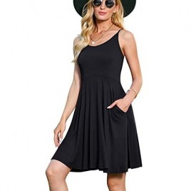 Jouica Women's Casual Sleeveless Adjustable Strappy Summer Beach Swing Dress with Pocket
