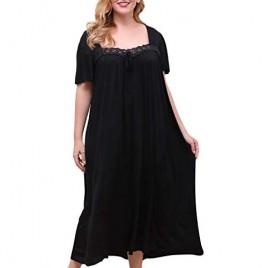 Nemidor Women's Plus Size Floral Lace Square Neck Long Nightgowns Soft Front Knot Short Sleeve Loose Maxi Nightdress NEM250