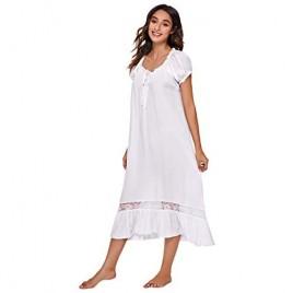 Verdusa Women's Lace Nightdress Short Sleeve Victorian Nightgown Sleepwear Pajama
