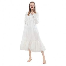 Victorian Princess Style Cotton Nightgown for Women Vintage Palace Sleepwear