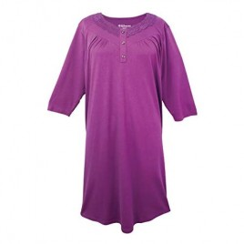 Womens Open Back Knit Nightgown with Diamond Neck and Soft - Magenta MED