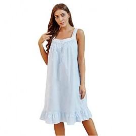 Womens Sleeveless Nightgowns Cotton Night Dress Summer Nightgown Comfy Sleepwear Dress Lightweight Night Gown for Women