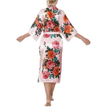 ALHAVONE Womens Silky Robes Long Floral Kimono Robe for Bride Bridesmaid Bridal Party Lightweight Lounge Sleepwear