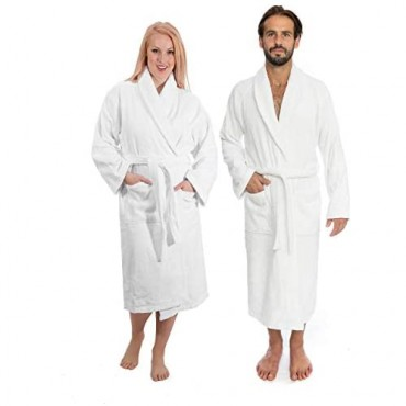 Classic Turkish Towels Luxury Shawl Terry Bathrobe - Hotel and Spa Robe Made With 100% Turkish Cotton