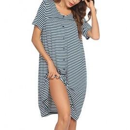 Ekouaer Women's Striped Robe Short Sleeve Button Down Nightgown Soft Sleepwear Housecoat and House Dress S-XXL