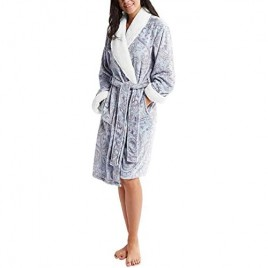 INK+IVY womens Fleece Bathrobe With Belt and Sherpa Collar and Cuff Trim