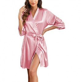 Newchoice Women's Short Kimono Silky Robes Nightgown 3/4 Sleeve Bride Party Satin Robes Sleepwear with Pockets