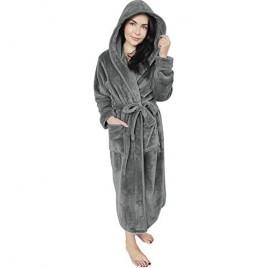 NY Threads Women Fleece Hooded Bathrobe - Plush Long Robe