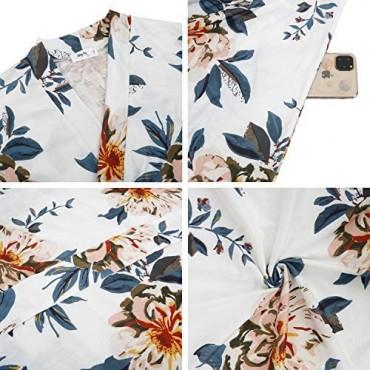Women Floral Bath Spa Robe Pattern Lightweight Summer Short Knee Length Soft Lounge Bathroom Ladies Dressing Gown S-XL