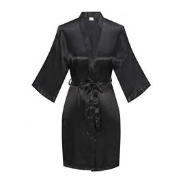 YINGER Womens Satin Kimono Robe V Neck Bridesmaid Bathrobe Wedding Party Loungewear Short XS-XX