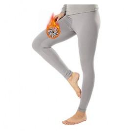 MANCYFIT Fleece Lined Thermal Leggings for Women Grey X-Large