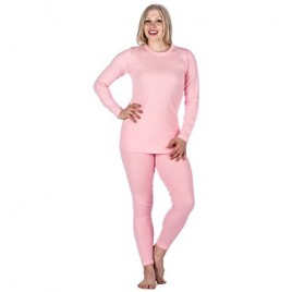 Noble Mount Womens Classic Waffle Knit Thermal Top and Bottom Set