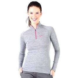 Womens Base Layer Top -%100 Merino Wool Half Zip Sweater Thermal Gray - Medium