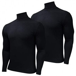 HTB Men's 1-2 Pack Long Sleeve T Shirts Big and Tall Slim Fit Cotton Pullover Base Layer Tops