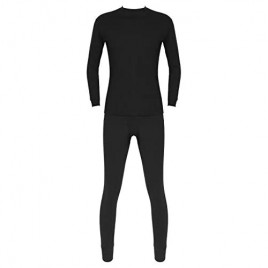JEATHA Winter Thermal Underwear for Men Basic Fleece Lined Long Sleeve Tops and Bottom